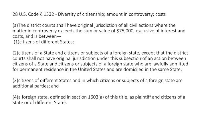 28 U.S. Code § 1332 - Diversity of citizenship; amount in controversy; costs