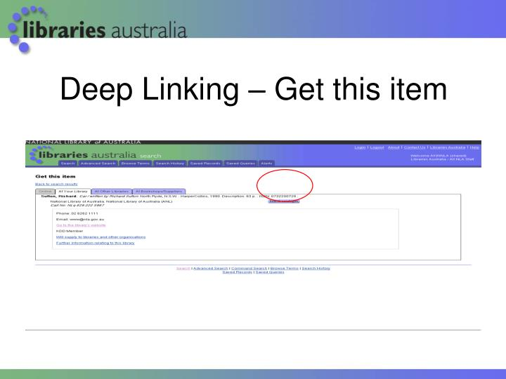 Deep Linking – Get this item