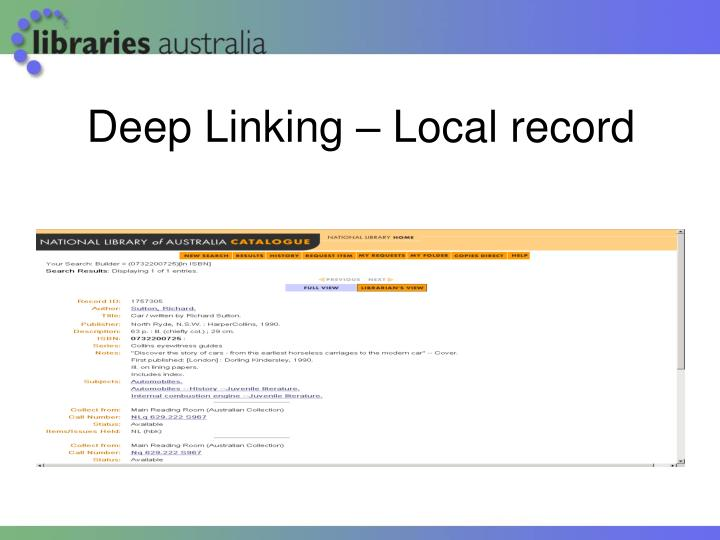 Deep Linking – Local record