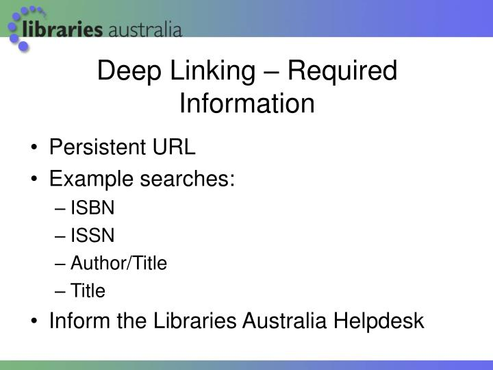 Deep Linking – Required Information