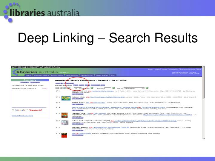 Deep Linking – Search Results