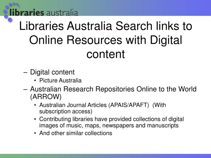Libraries Australia Search links to Online Resources with Digital content