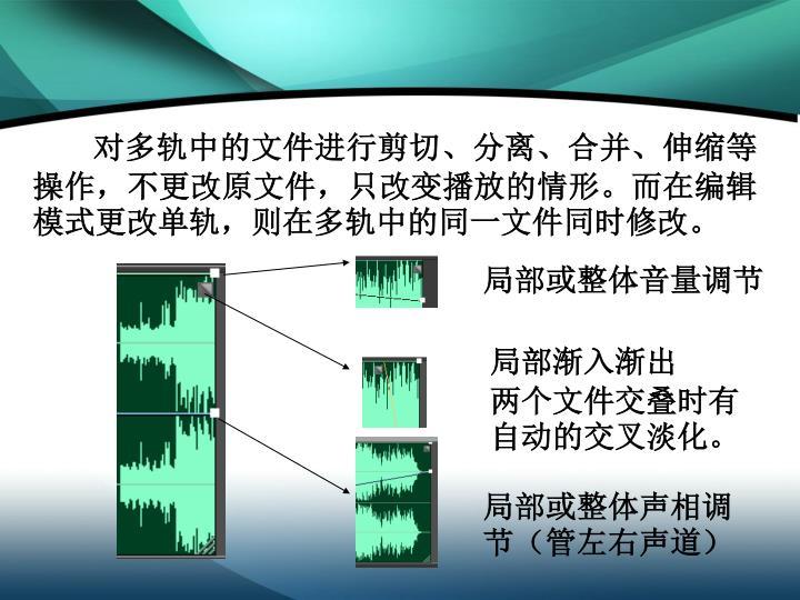 对多轨中的文件进行剪切、分离、合并、伸缩等操作,不更改原文件,只改变播放的情形。而在编辑模式更改单轨,则在多轨中的同一文件同时修改。