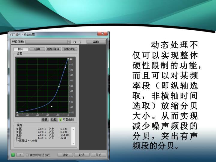 动态处理不仅可以实现整体硬性限制的功能,而且可以对某频率段(即纵轴选取,非横轴时间选取)放缩分贝大小。从而实现减少噪声频段的分贝,突出有声频段的分贝。