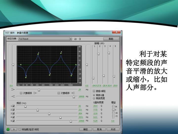 利于对某特定频段的声音平滑的放大或缩小,比如人声部分。
