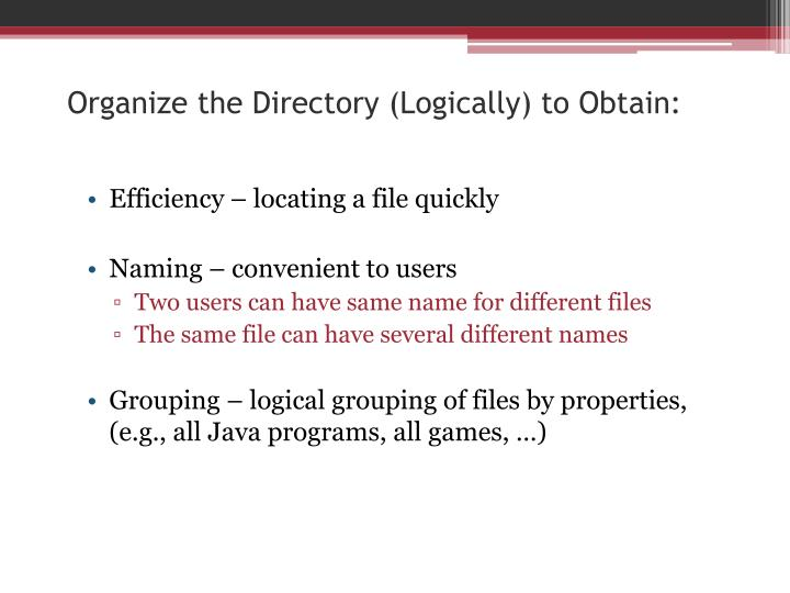 Organize the Directory (Logically) to Obtain: