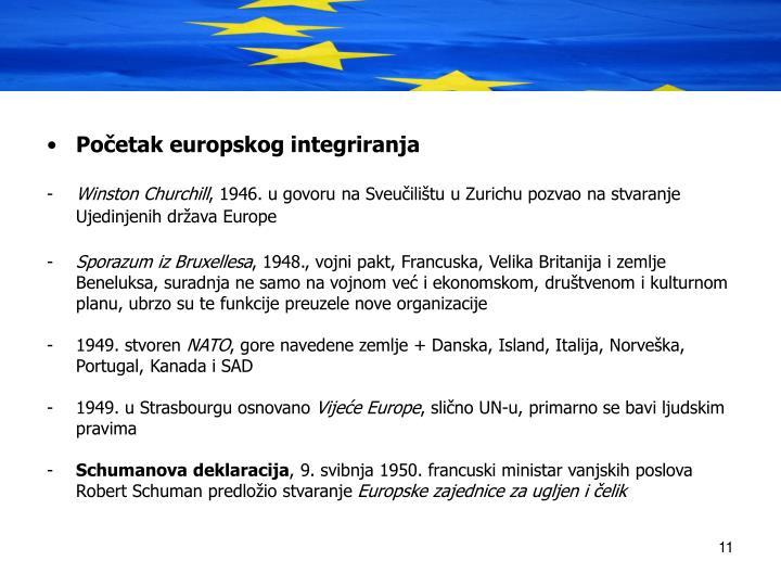 Poetak europskog integriranja