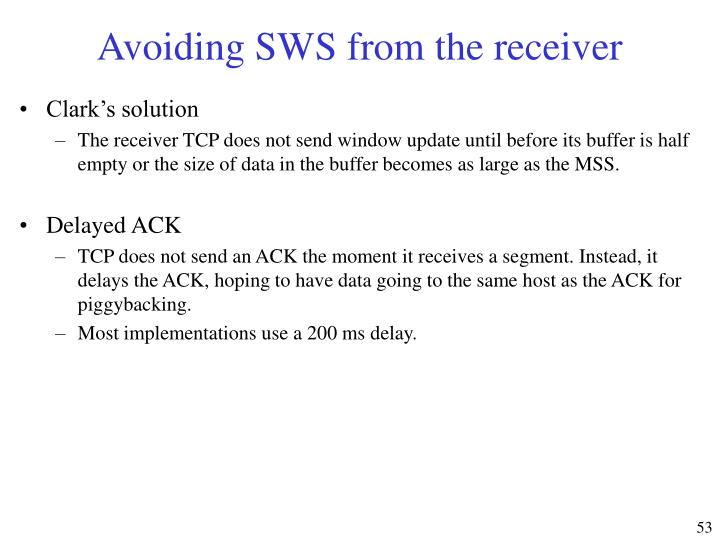 Avoiding SWS from the receiver