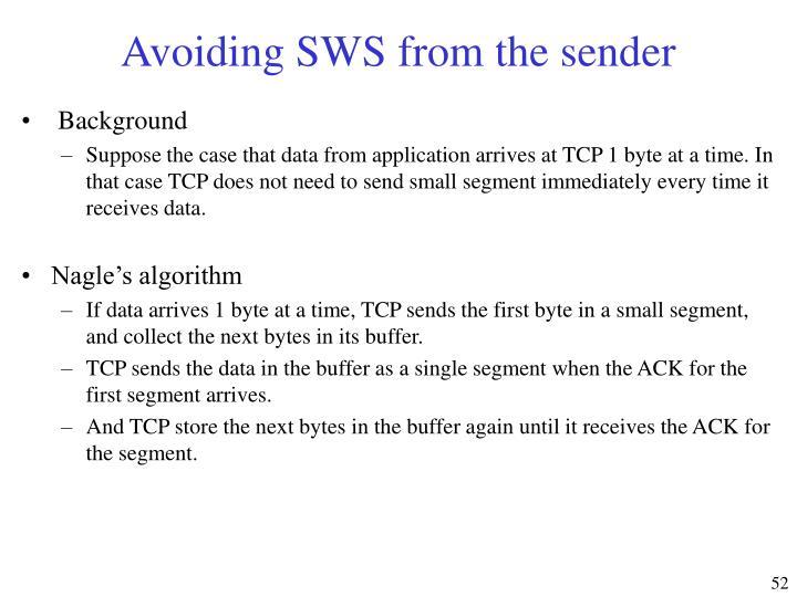 Avoiding SWS from the sender