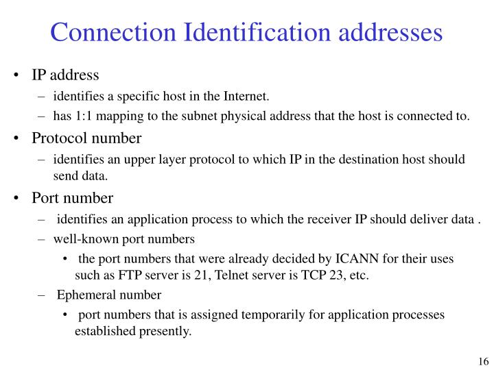 Connection Identification addresses