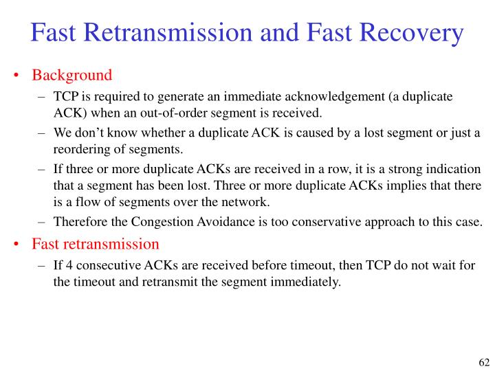 Fast Retransmission and Fast Recovery