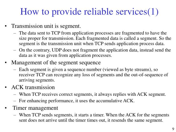 How to provide reliable services(1)