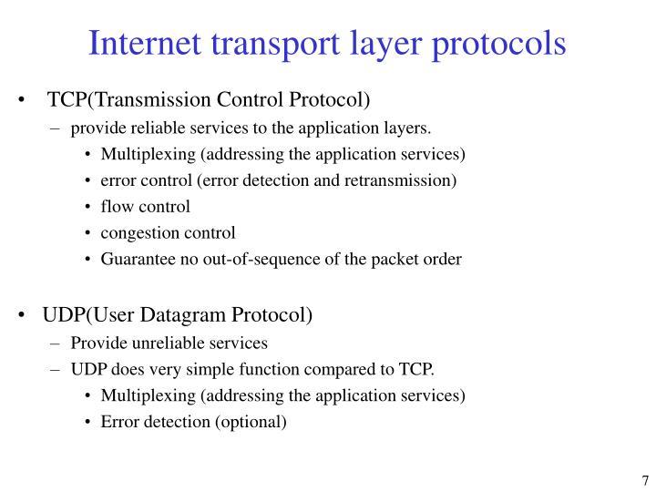 Internet transport layer protocols