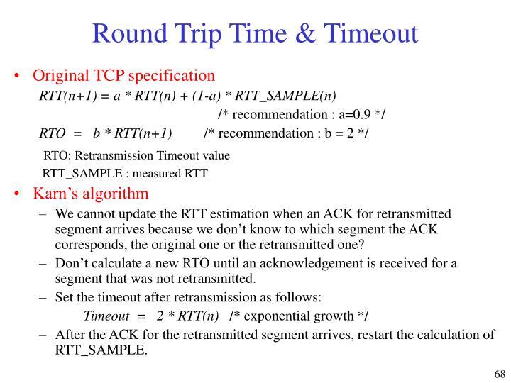 Round Trip Time & Timeout