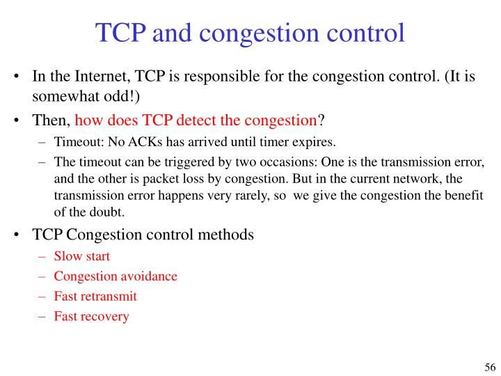 TCP and congestion control