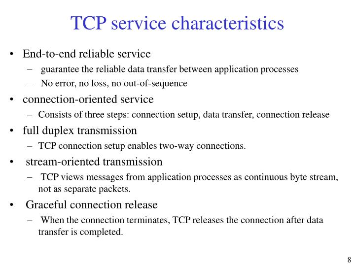 TCP service characteristics