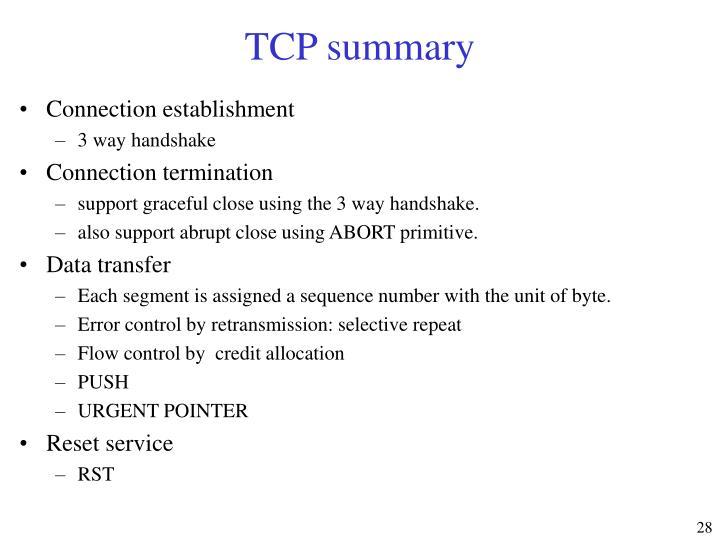 TCP summary