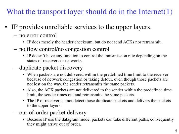 What the transport layer should do in the Internet(1)