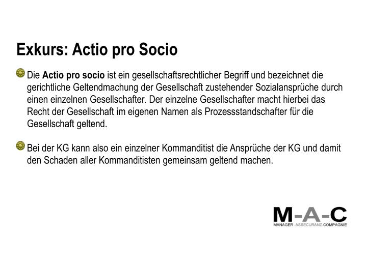 Exkurs: Actio pro Socio