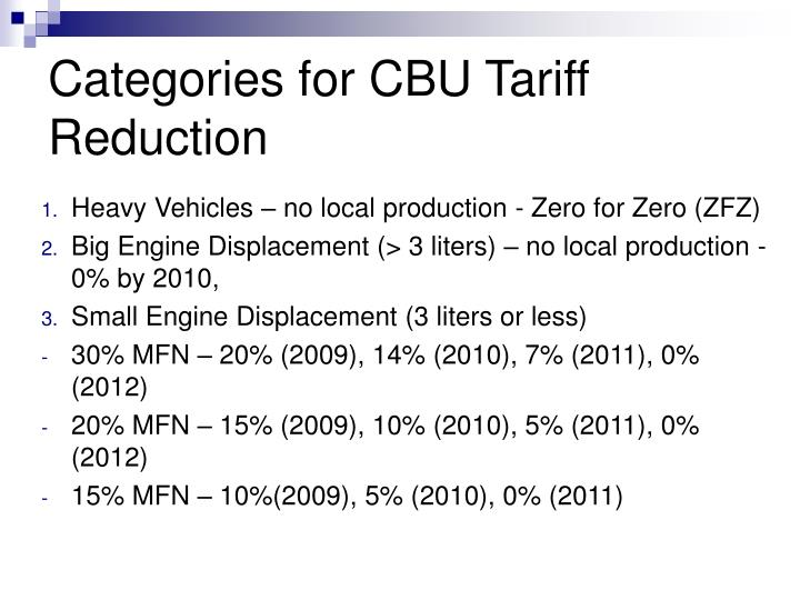 Heavy Vehicles – no local production - Zero for Zero (ZFZ)