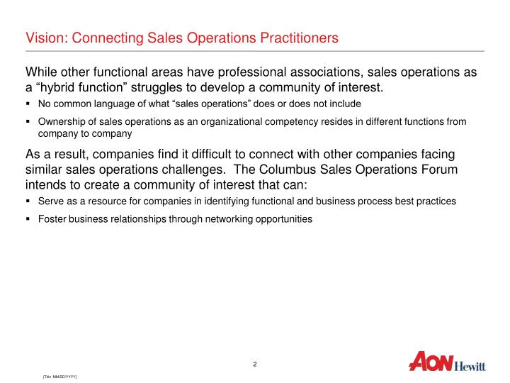 Vision: Connecting Sales Operations Practitioners