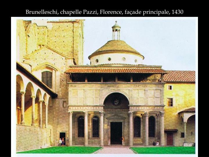 Brunelleschi, chapelle Pazzi, Florence, façade principale, 1430
