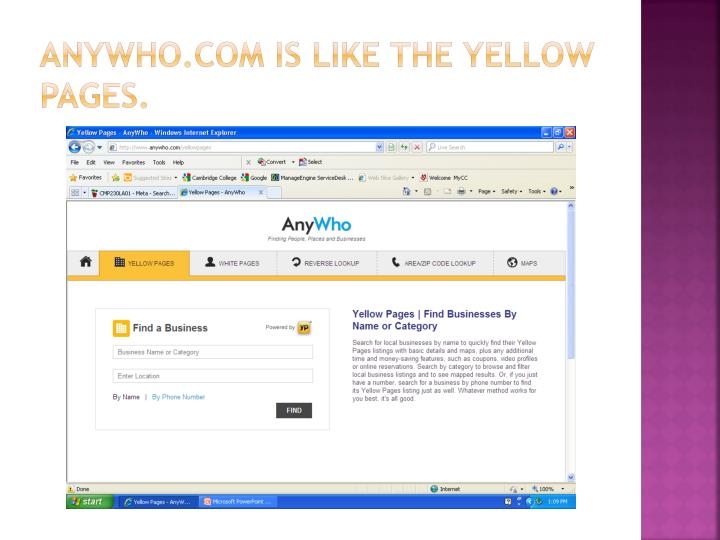 Anywho com is like the yellow pages