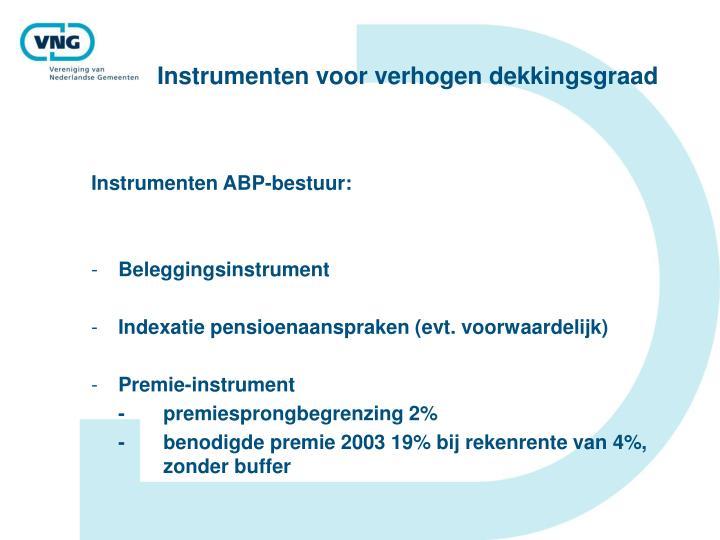 Instrumenten voor verhogen dekkingsgraad