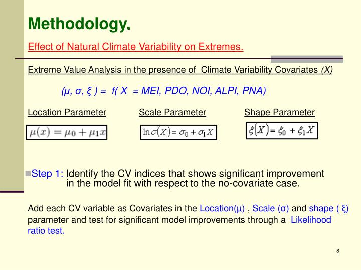 Extreme Value Analysis in the presence of  Climate Variability Covariates
