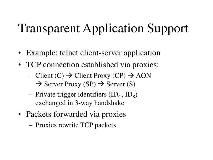 Transparent Application Support