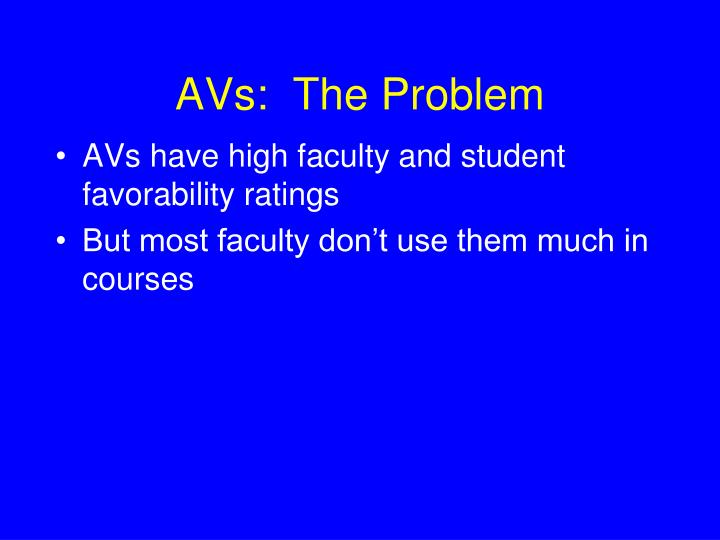 AVs:  The Problem