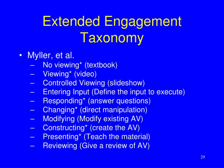 Extended Engagement Taxonomy