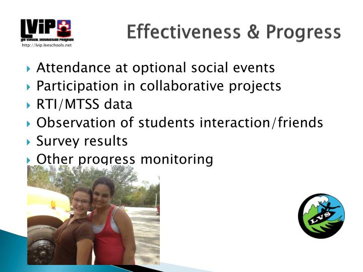 Effectiveness & Progress
