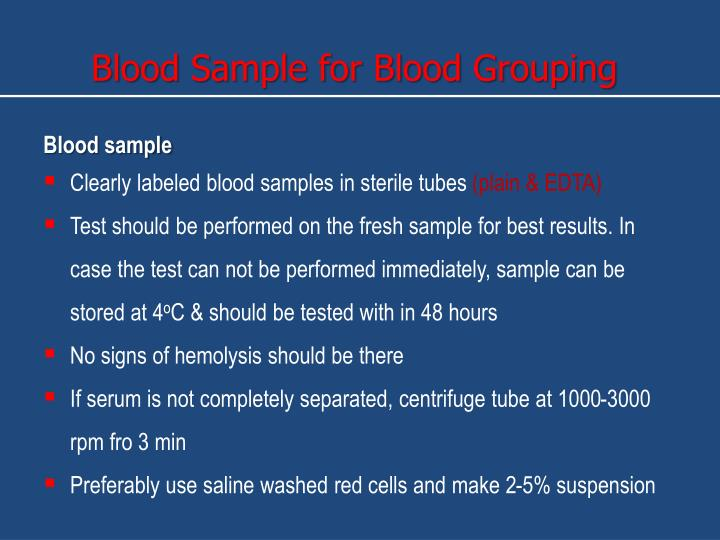 Blood Sample for Blood Grouping