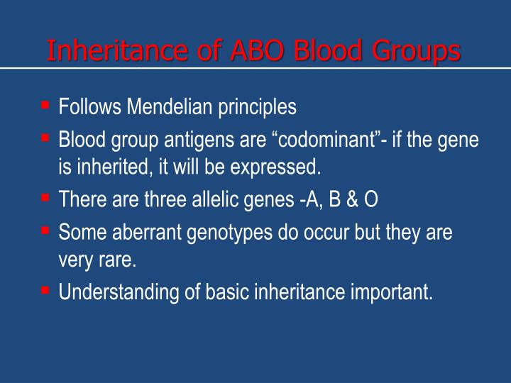 Inheritance of ABO Blood Groups
