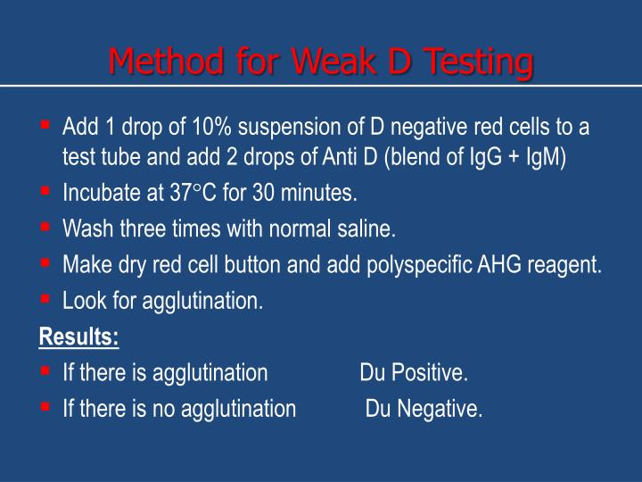 Method for Weak D Testing