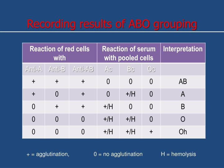 Recording results of ABO grouping
