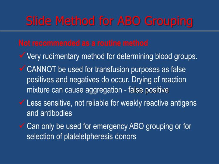 Slide Method for ABO Grouping
