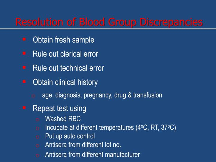 Resolution of Blood Group Discrepancies