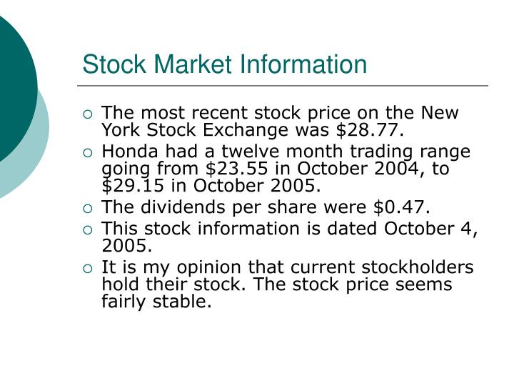 Stock Market Information