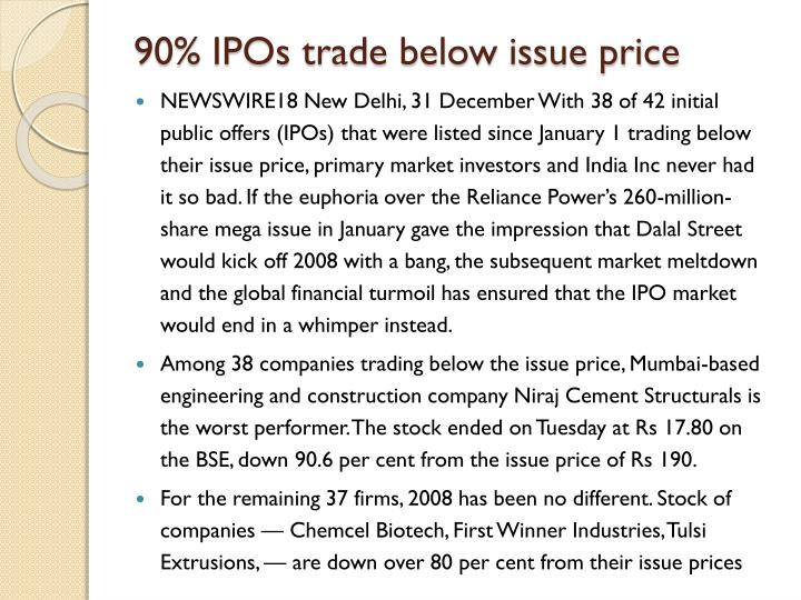 90% IPOs trade below issue price
