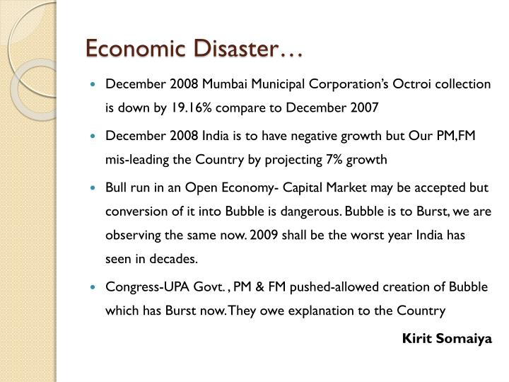 Economic Disaster…
