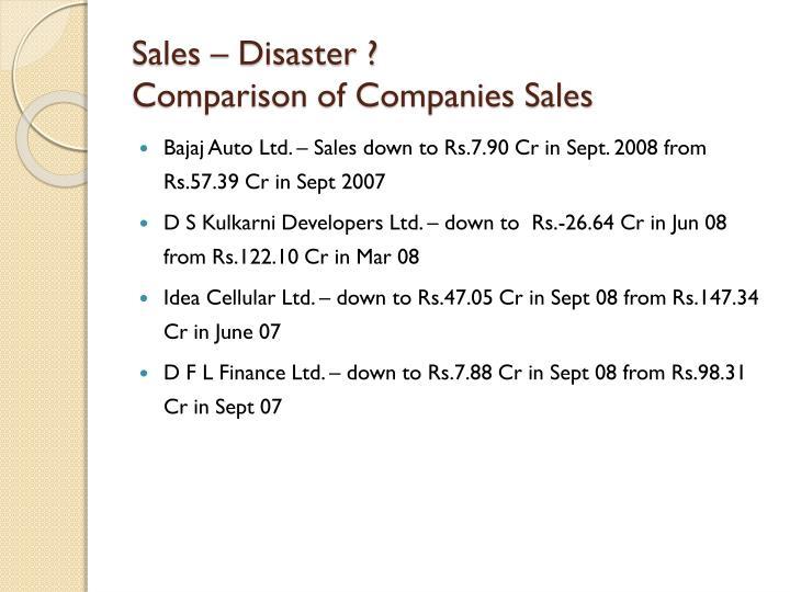 Sales – Disaster ?