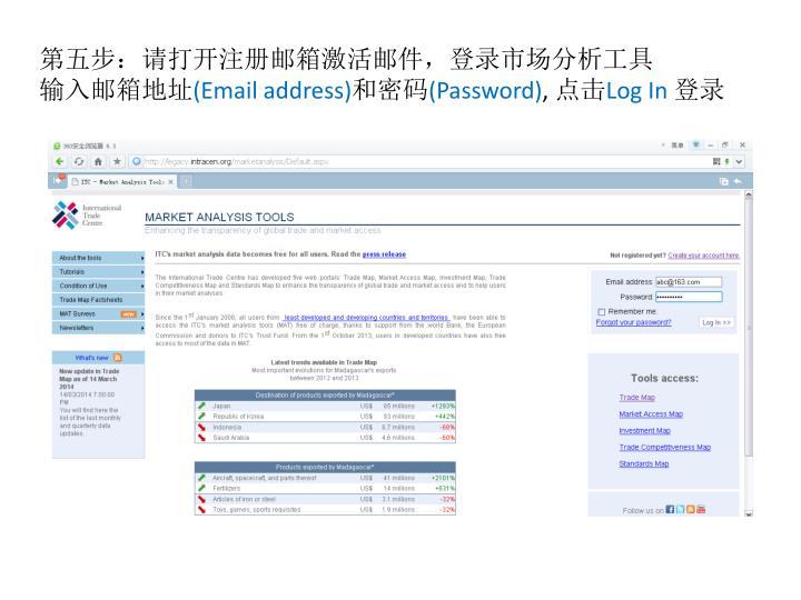 第五步:请打开注册邮箱激活邮件,登录市场分析工具