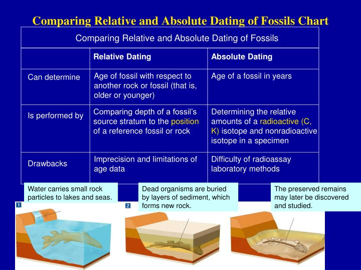 explain relative and absolute dating Relative dating in archeology absolute dating methods are not always the remainder stacked in relative chr onological order from the oldest to the latest.