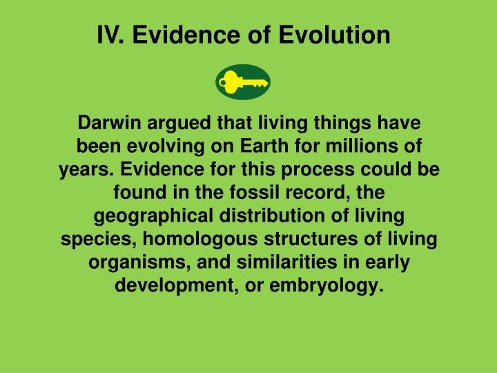 IV. Evidence of Evolution