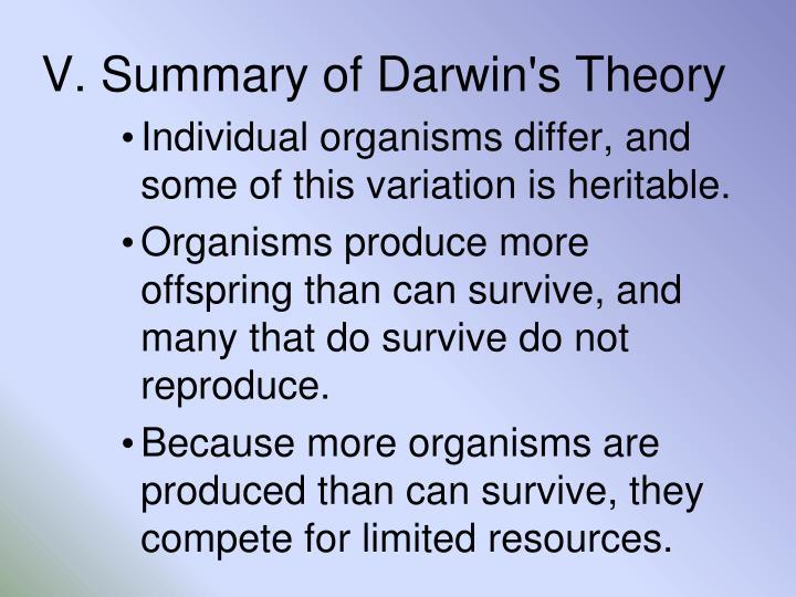 V. Summary of Darwin's Theory