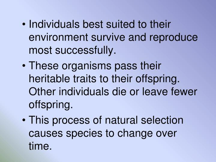 Individuals best suited to their environment survive and reproduce most successfully.