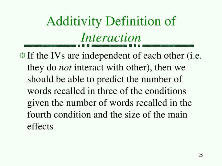 Additivity Definition of