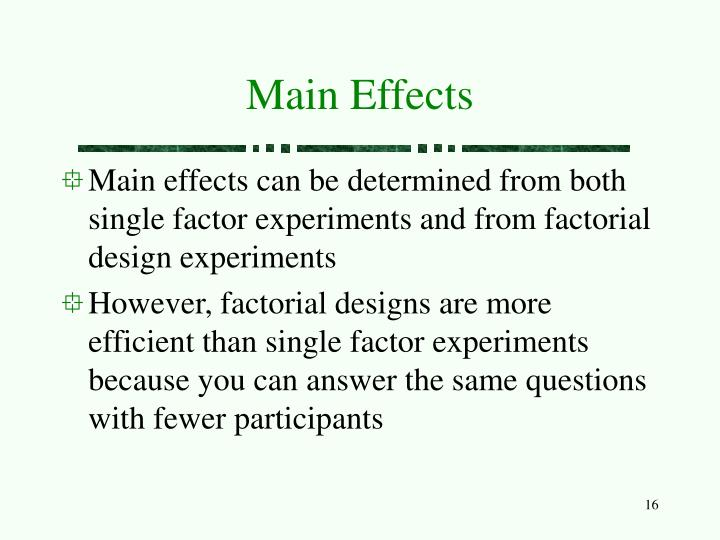Main Effects